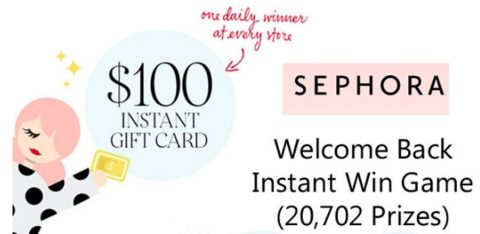 Sephora Welcome Back Instant Win Game
